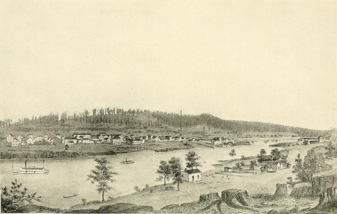 Linn City and Oregon City in 1858
